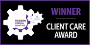Winner client care award graphic