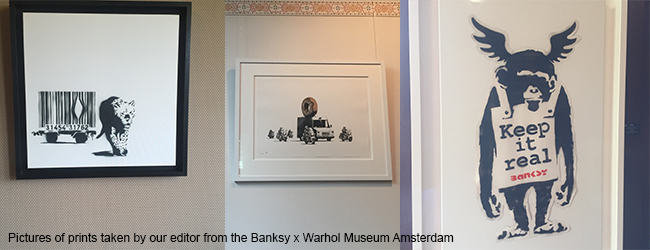 a picture taken by our editor from the Banksy x Warhol Museum Amsterdam